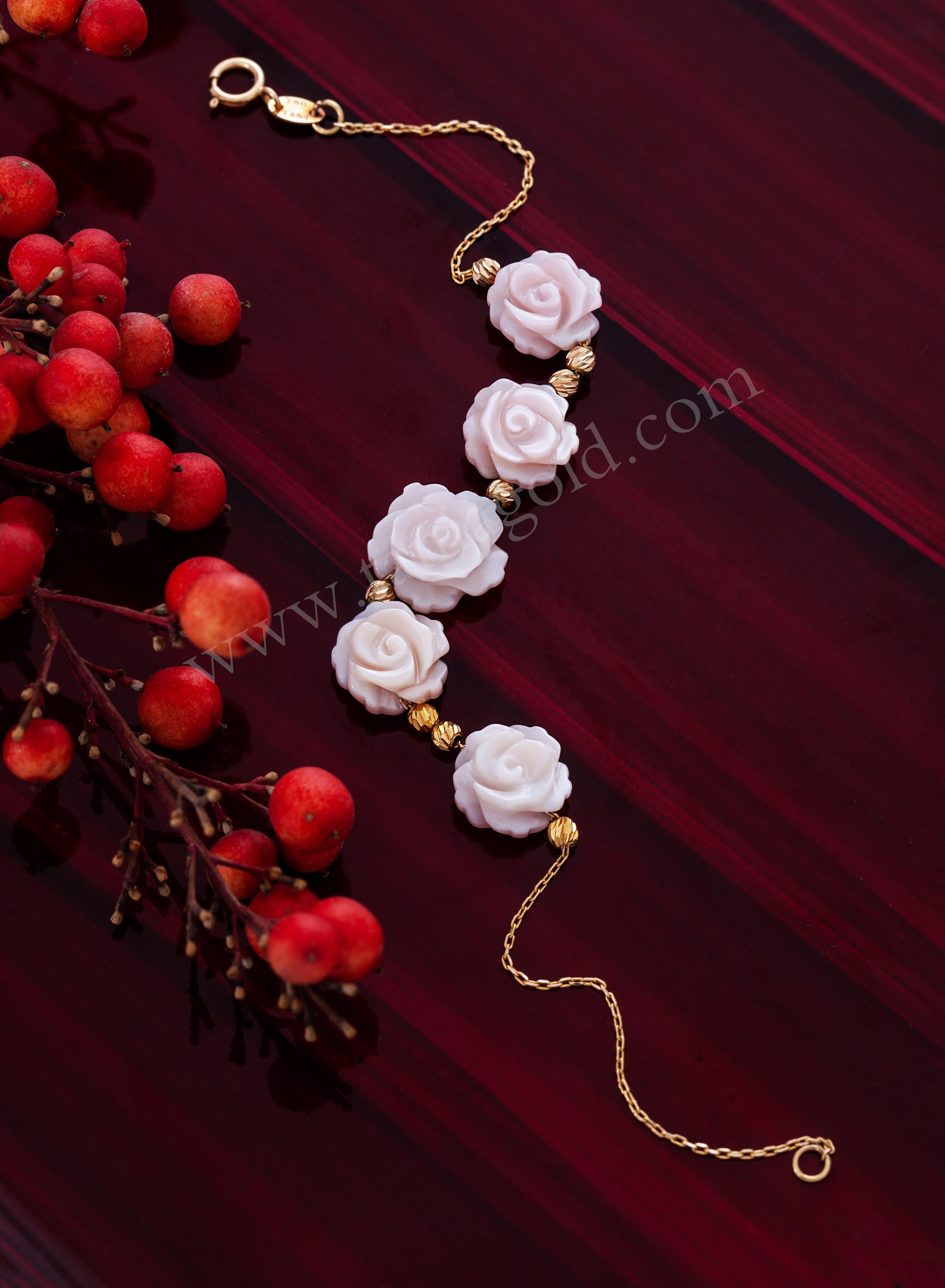 دستبند زنجیری گل صدفی